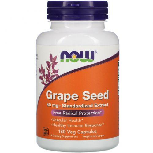Now Foods, Экстракт виноградных косточек, 180 капсул в растительной оболочке
