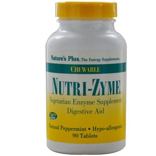 Nature's Plus, Ферменты Nutri-Zyme, жевательные таблетки с натуральной мятой, 90 таблеток (Discontinued Item)
