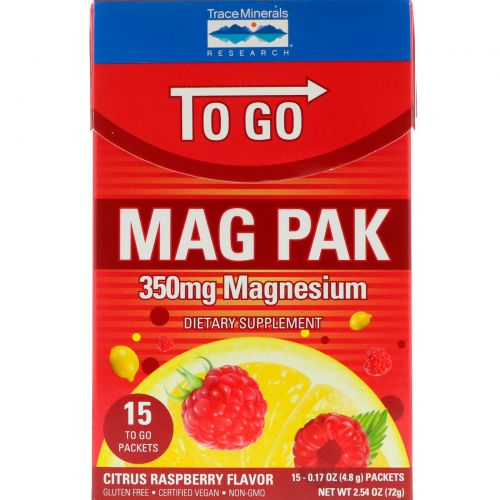 Trace Minerals Research, Mag Pak To Go, Magnesium Powder, Citrus Raspberry Flavor, 350 mg, 15 Packets, 0.17 oz (4.8 g) Each