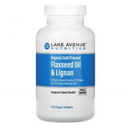 Lake Avenue Nutrition, Organic Cold Pressed Flaxseed Oil & Lignan, Hexane Free, 120 Veggie Softgels