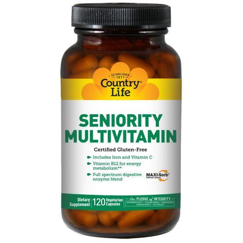 Country Life, Мультивитамин для пожилого возраста, 120 вегетарианских капсул