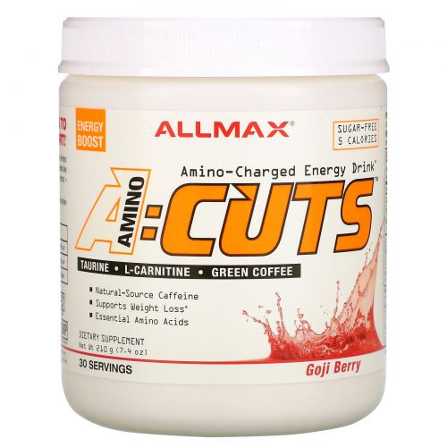 ALLMAX Nutrition, AMINOCUTS, Weight Loss BCAA+EAA, Taurine, CLA, Green Coffee, Goji Berry Martini, 7.4 oz (210 g)