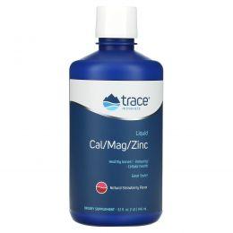 Trace Minerals Research, Быстро впитывающаяся жидкая добавка минералов: кальций/магний/цинк со вкусом клубники, 946 мл