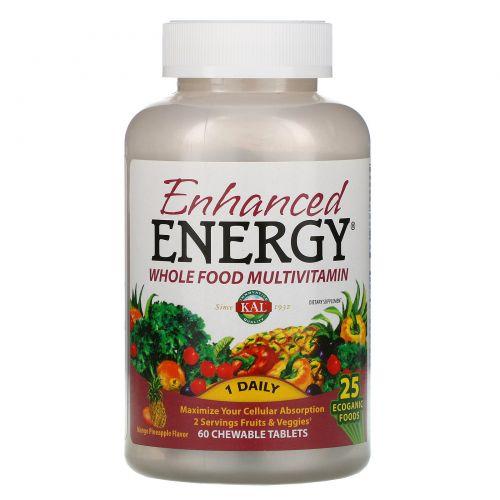 KAL, Enhanced Energy, мультивитамины из цельных продуктов, со вкусом манго и ананаса, 60жевательных таблеток