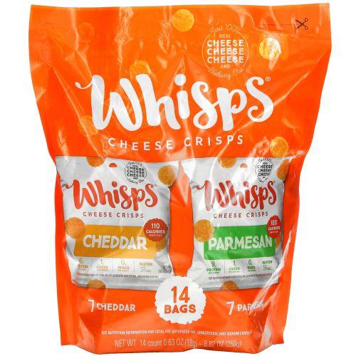Whisps, Cheese Crisps Pack, 7 Cheddar, 7 Parmesan, 14 Bags, 0.63 oz ( 18 g) Each