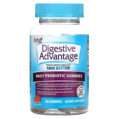 Schiff, Digestive Advantage, Daily Probiotic Gummies, Strawberry, 60 Gummies
