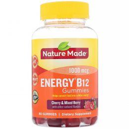 Nature Made, Жевательные витамины для взрослых, Энергия витамина В12, вишня и смесь ягод, 80 жевательных таблеток