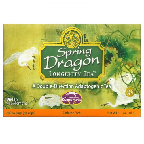 Dragon Herbs, Чай для долголетия Spring Dragon, без кофеина, 20 пакетиков, 1,8 унции (50 г)