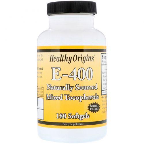 Healthy Origins, Витамин E-400, 400 МЕ, 180 капсул