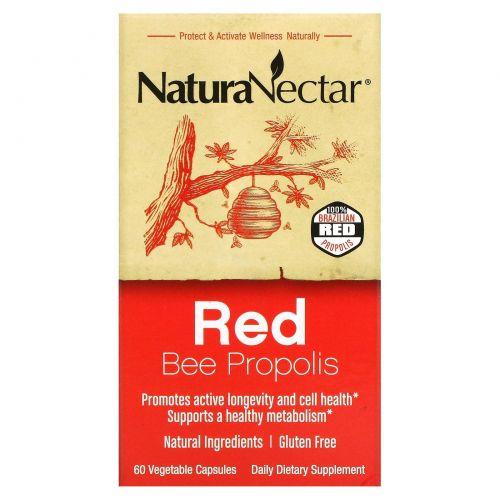NaturaNectar, Красный пчелиный прополис, 60 вегетарианских капсул