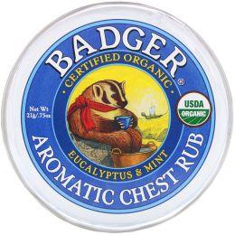 Badger Company, Органическая ароматическая мазь с эвкалиптом и мятой, .75 унций (21 г)