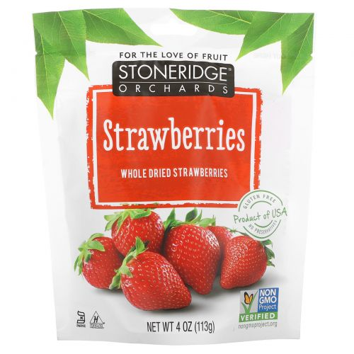 Stoneridge Orchards, Клубника, Целые сушеные ягоды клубники, 4 унции (113 г)
