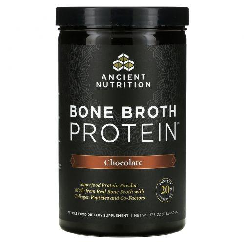 """Ancient Nutrition, """"Белок костного бульона"""", белковый порошок с шоколадным вкусом, 17,8 унции (504 г)"""