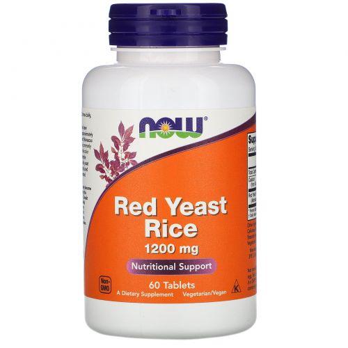 Now Foods, Красный ферментированный рис, 1200 мг, 60 таблеток