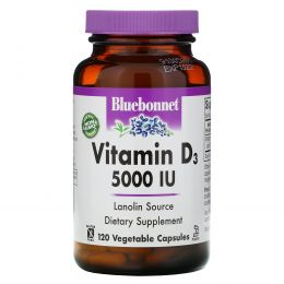 Bluebonnet Nutrition, Витамин D3, 5000 МЕ, 120 капсул в растительной оболочке