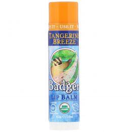 Badger Company, Натуральный бальзам для губ, манадриновый бриз, 0.15 унций (4.2 г)