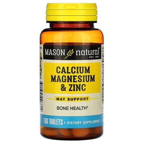 Mason Natural, Кальций, магний и цинк, 100 таблеток