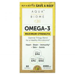 Enzymedica, Aqua Biome, рыбий жир, максимальная сила, лимонный вкус, 60 гелевых капсул