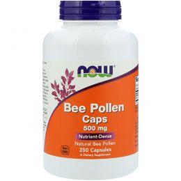 Now Foods, Капсулы с пчелиной пыльцой, 500 мг, 250 капсул