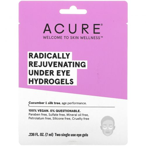 Acure Organics, Радикально омолаживающая гидрогелевая маска под глаза, 2 одноразовых гелевых накладки, 0,236 ж. унц. (7 мл)
