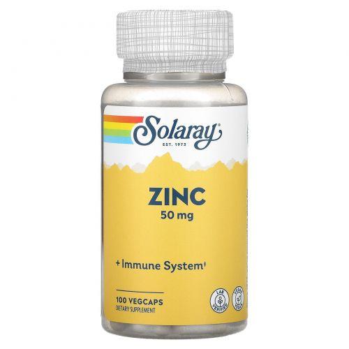 Solaray, Цинк, 50 мг, 100 вегетарианских капсул
