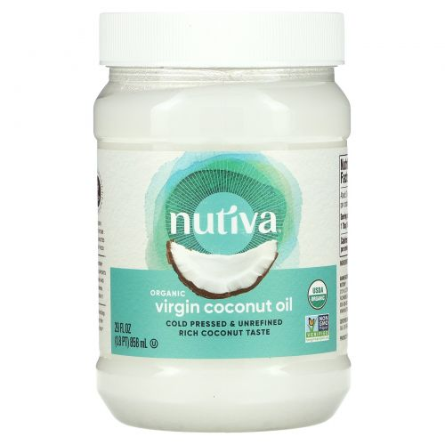 Nutiva, Натуральное очищенное кокосовое масло, 29 жидких унций (858 мл)