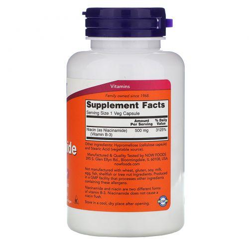 Now Foods, Ниацинамид, 500 мг, 100 капсул