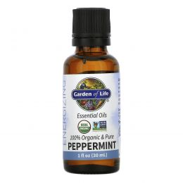 Garden of Life, 100% Organic & Pure, Essential Oils, Energizing, Peppermint, 1 fl oz (30 ml)