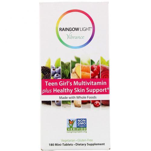 Rainbow Light, Vibrance, мультивитамины для девочек-подростков, способствуют здоровью кожи, 180мини-таблеток