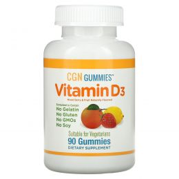California Gold Nutrition, Органическое происхождение, пастилки с витамином D3, не содержат желатина и клейковины, смесь ароматов ягод и фруктов, 90 пастилок