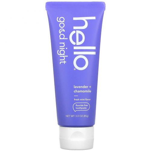 Hello, Good Night, Fluoride Free Toothpaste, Lavender + Chamomile, 3 oz (85 g)