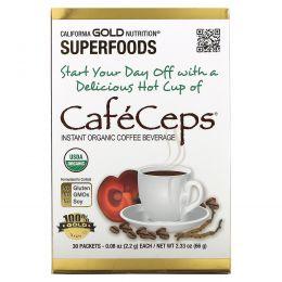 California Gold Nutrition, CafeCeps, сертифицированный органический растворимый кофе с кордицепсом и порошком грибов рейши, 30 пакетов, по 2,2 г каждый