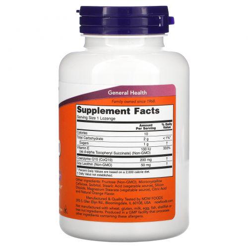 Now Foods, Кофермент Q10, 200 мг, 90 пастилок
