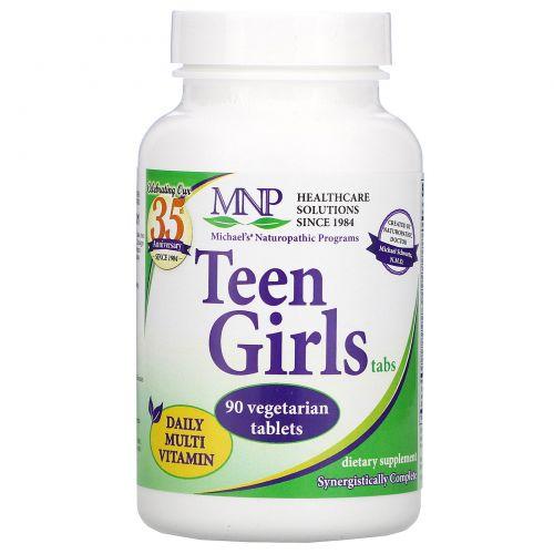 Michael's Naturopathic, Таблетки для девушек, ежедневные мультивитамины, 90 растительных таблеток
