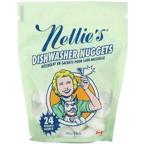 Nellie's All-Natural, Пакетики для посудомоечной машины, 24 пакетиков, 0,95 фунтов (0,43 кг)