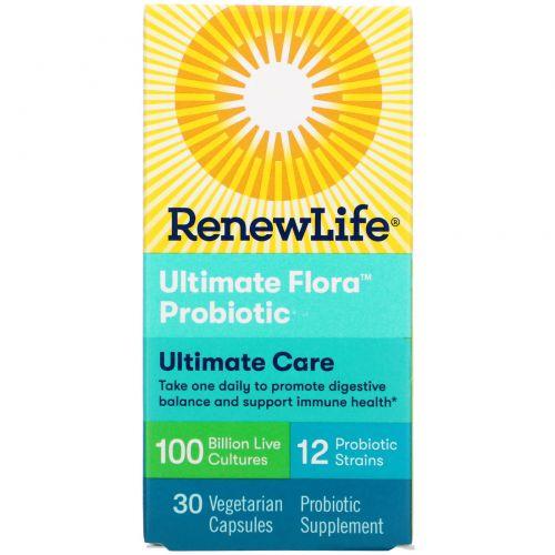Renew Life, Пробиотик Ultimate Flora, сверхактивный, 100 миллиардов, 30 растительных капсул