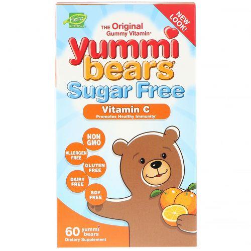 """Hero Nutritional Products, Жевательные витамины """"Вкусные мишки"""", без сахара, витамин С, полностью натуральные фруктовые ароматизаторы и красители, 60 желатиновых мишек"""