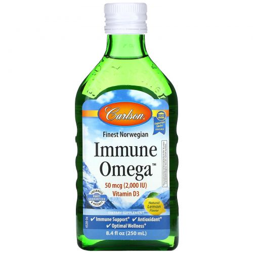 Carlson Labs, Immune Omega, Natural Lemon, 8.4 fl oz (250 ml)
