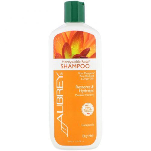Aubrey Organics, Шампунь из жимолости и розы, интенсивное увлажнение, для сухих волос, 11 жидких унций (325 мл)