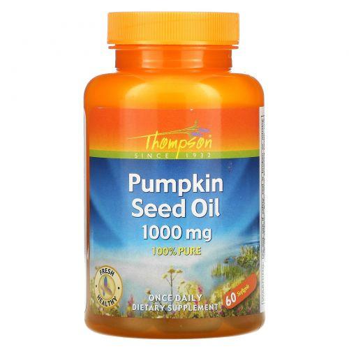 Thompson, Масло семян тыквы, 1000 мг, 60 капсул
