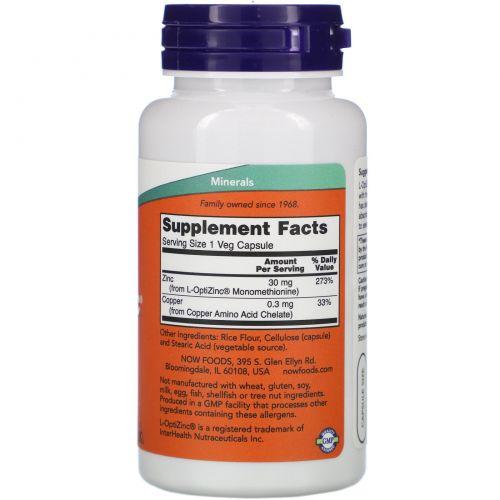 Now Foods, L-OptiZinc, 30 mg, 100 Veggie Caps