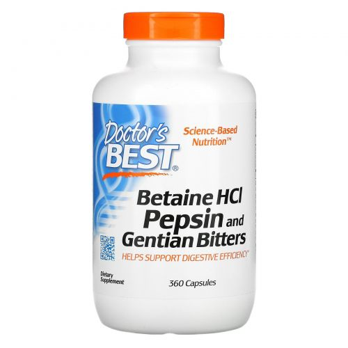Doctor's Best, Горькая настойка из бетаина гидрохлорида, пепсина и генцианы (Betaine HCl, Pepsin & Gentian Bitters), 360 капсул