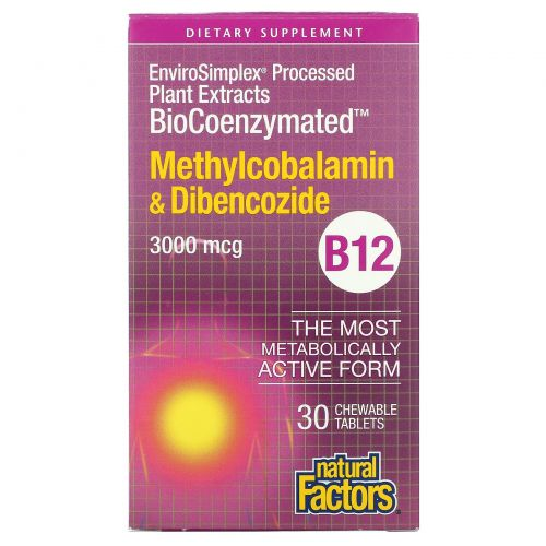 Natural Factors, BioCoenzymated, Methylcobalamin & Dibencozide, 3,000 mcg, 30 Chewable Tablets
