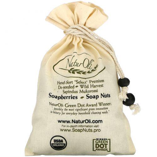 NaturOli, Organic, отобранные вручную мыльные орехи с 1 муслиновым мешочком с кулиской, 4 унции