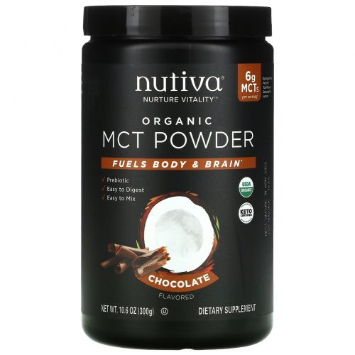 Nutiva, Organic MCT Powder, Chocolate, 10.6 oz (300 g)