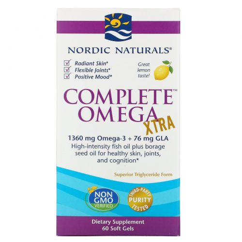 Nordic Naturals, Complete Omega Xtra со вкусом лимона, 1000 мг, 60 мягких желатиновых капсул