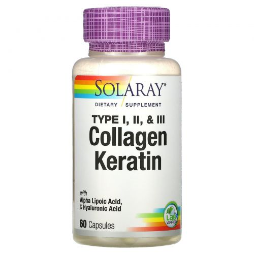 Solaray, Коллаген кератин, тип I, II, III, 60 капсул