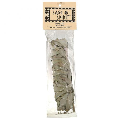 Sage Spirit, Native American Incense, белый шалфей, 6-7 дюймов