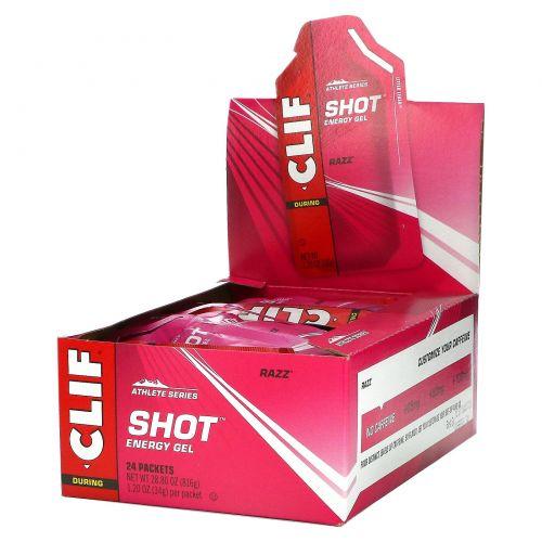 Clif Bar, Энергетический гель, Razz, 24 пакетика, 1,20 унции (34 г) каждый