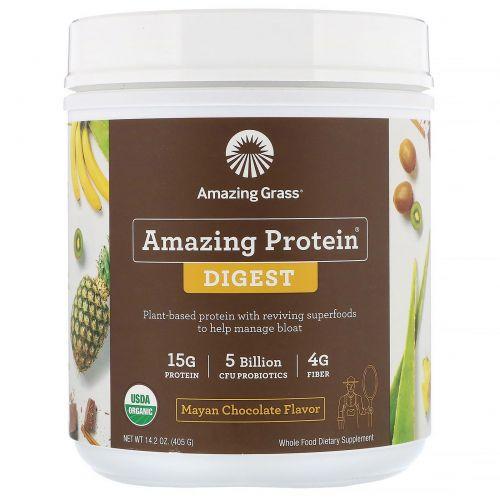 Amazing Grass, Amazing Protein, «Здоровое пищеварение», со вкусом шоколада майя, 5млрд КОЕ, 405г